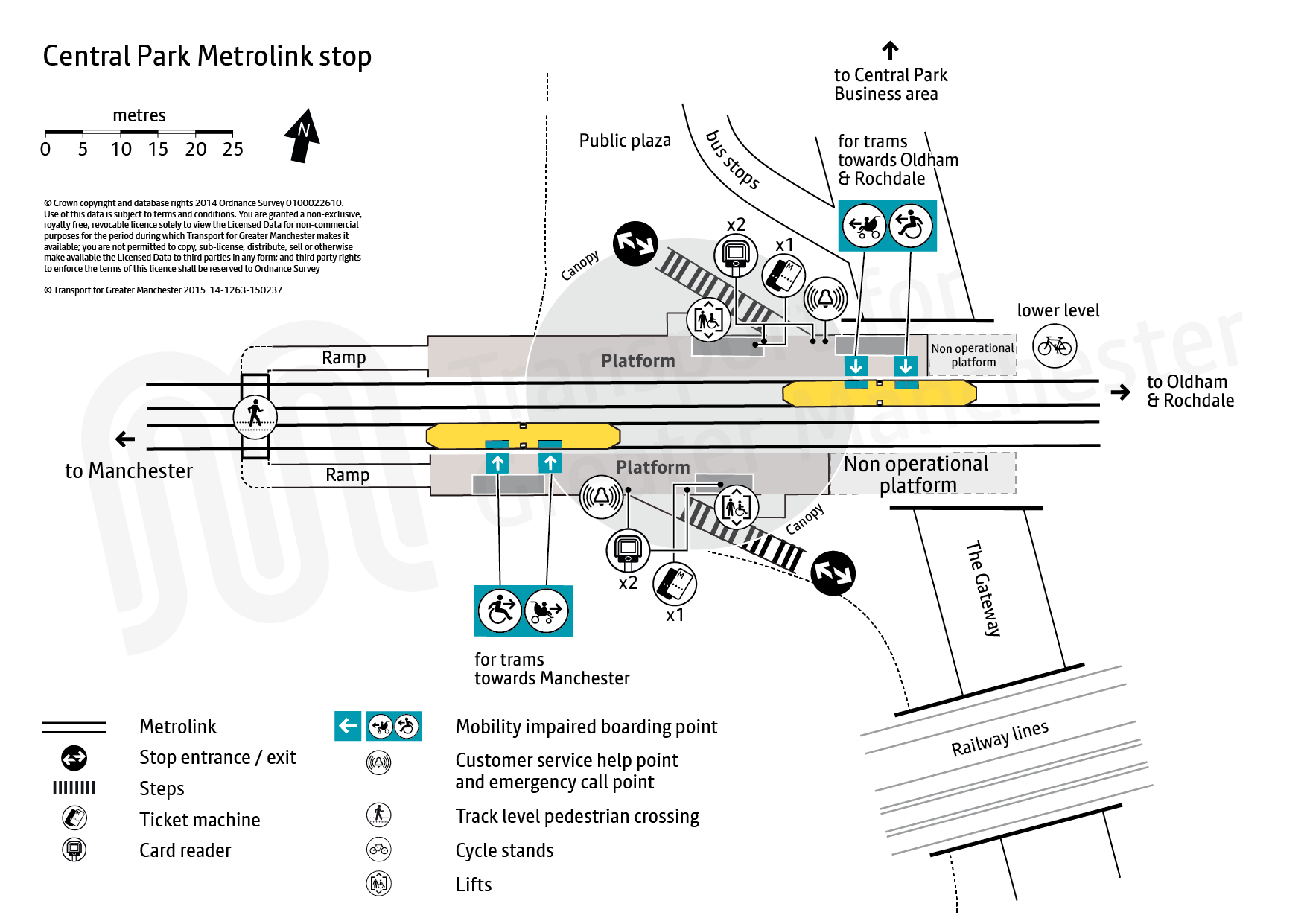 Stop map for Central Park tram stop