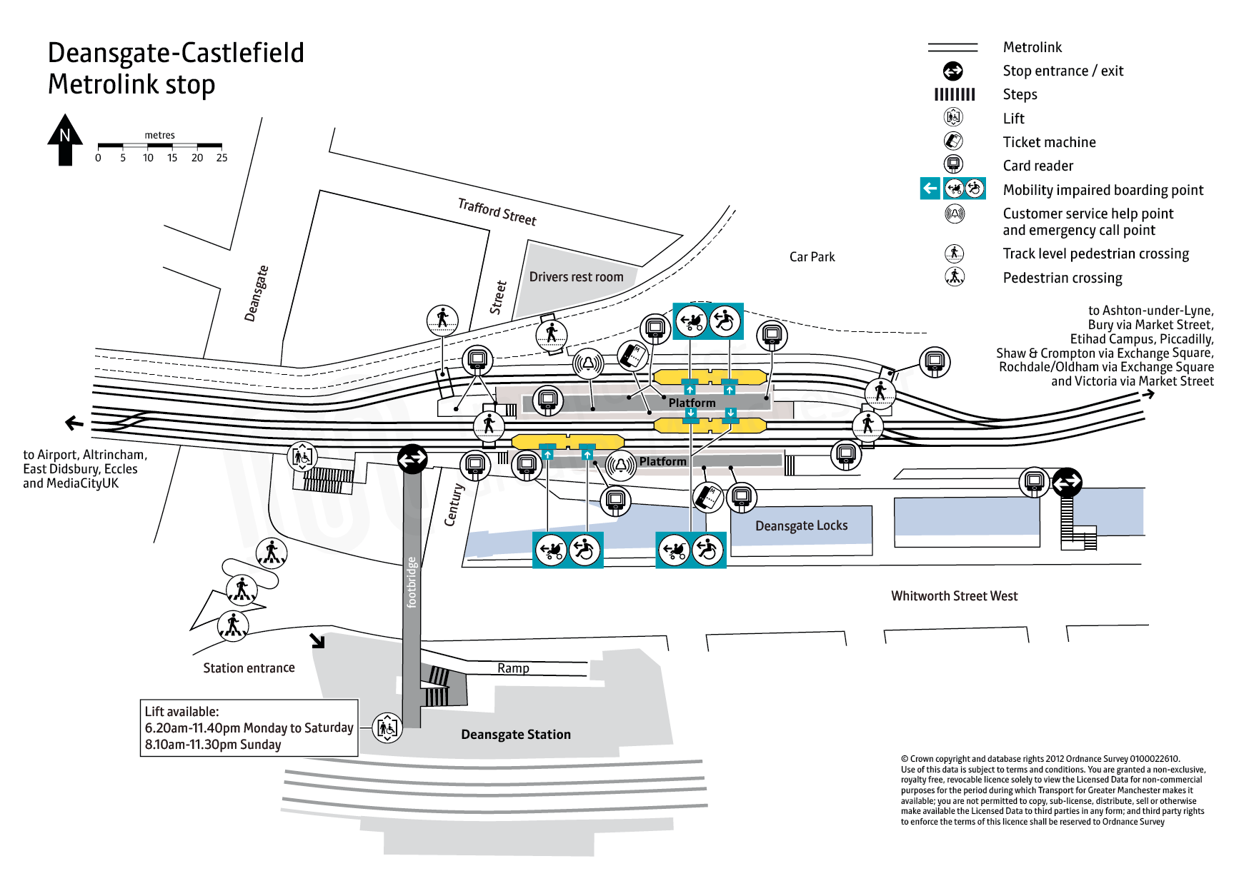 Stop map for Deansgate-Castlefield tram stop