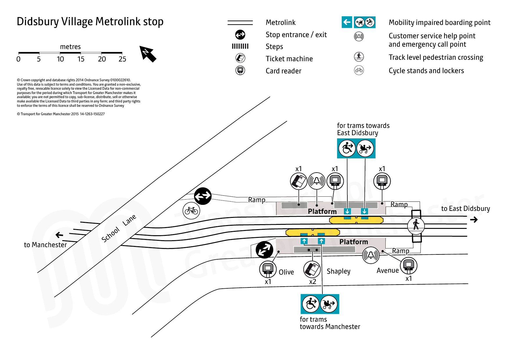Stop map for Didsbury Village tram stop