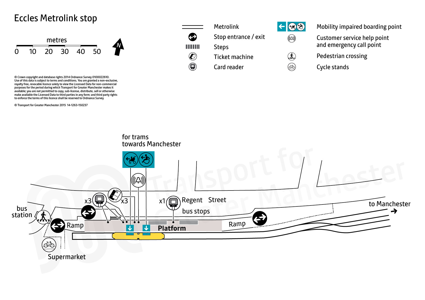 Stop map for Eccles tram stop