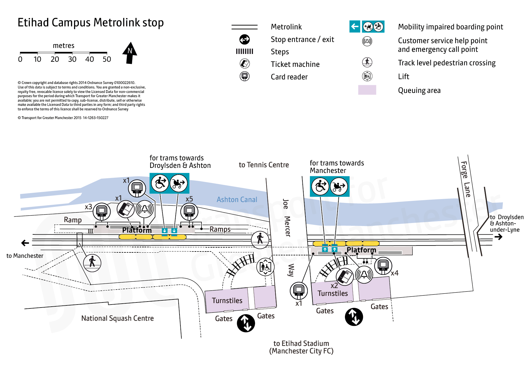 Stop map for Etihad Campus tram stop