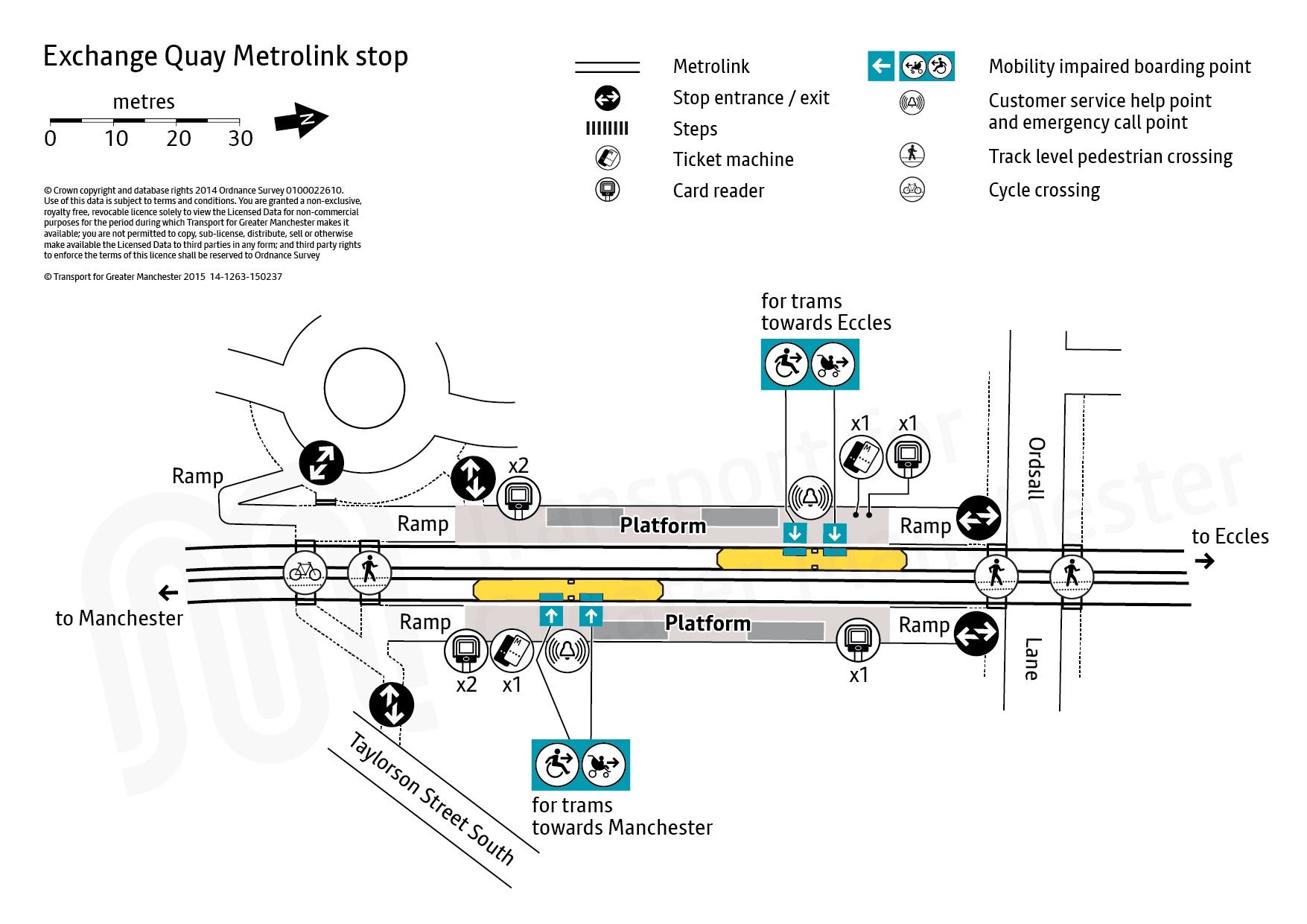 Stop map for Exchange Quay tram stop