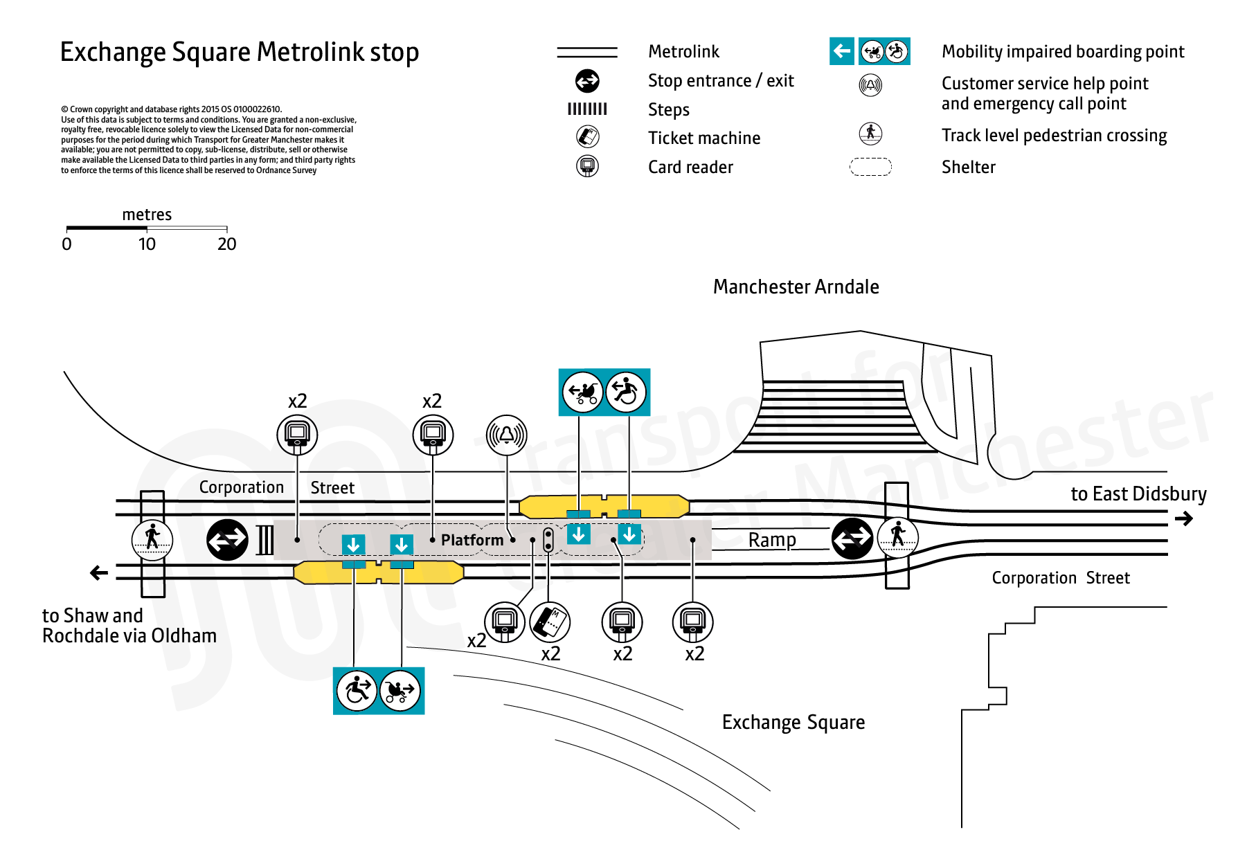 Stop map for Exchange Square tram stop