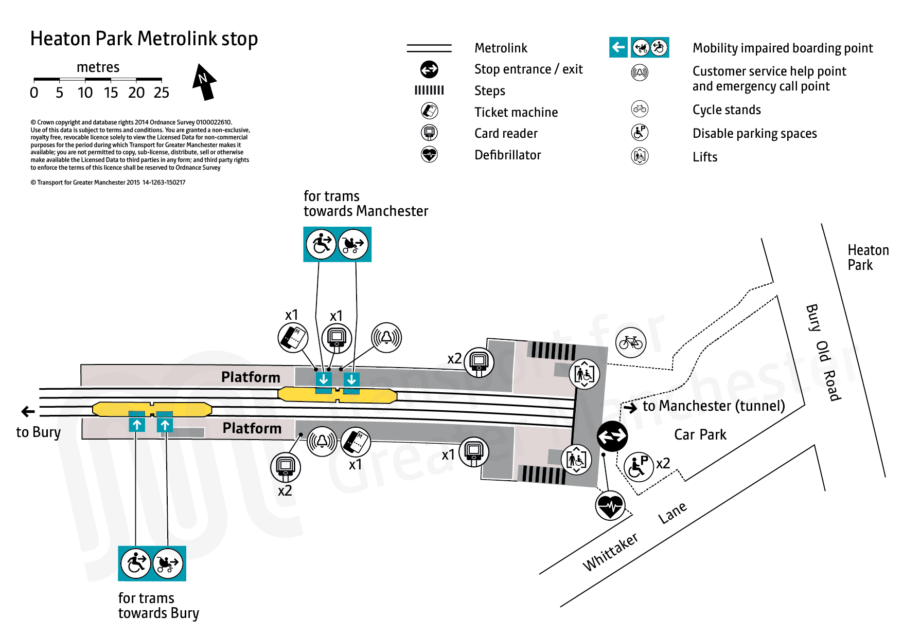 Stop map for Heaton Park tram stop