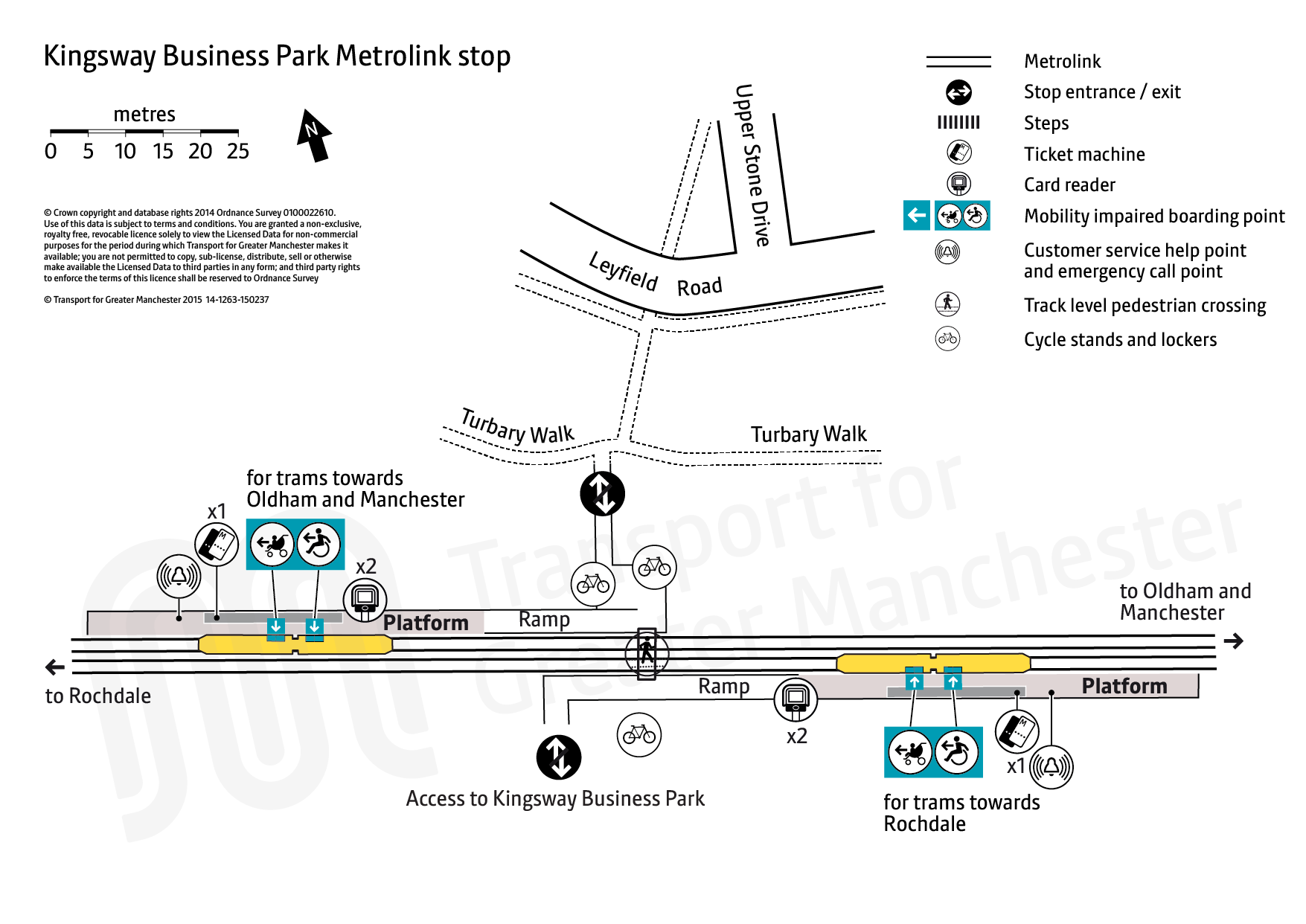 Stop map for Kingsway Business Park tram stop