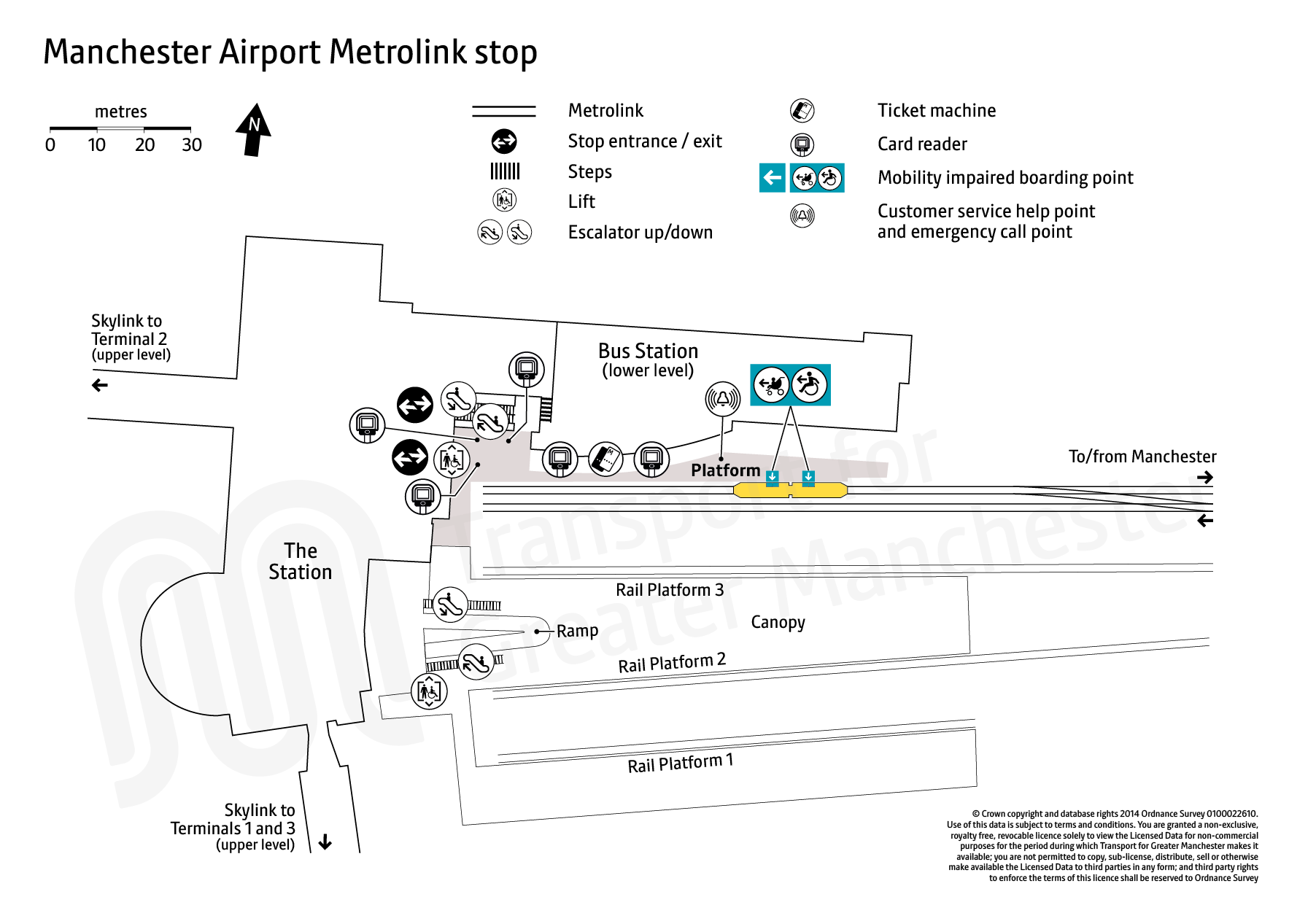 Stop map for Manchester Airport tram stop