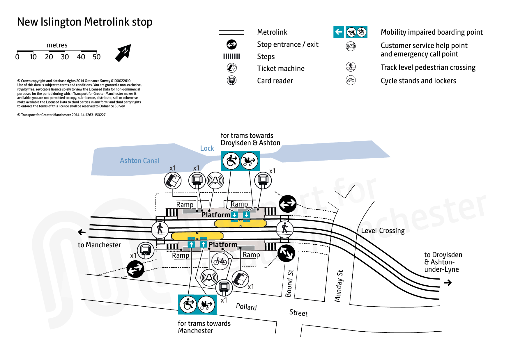 Stop map for New Islington tram stop