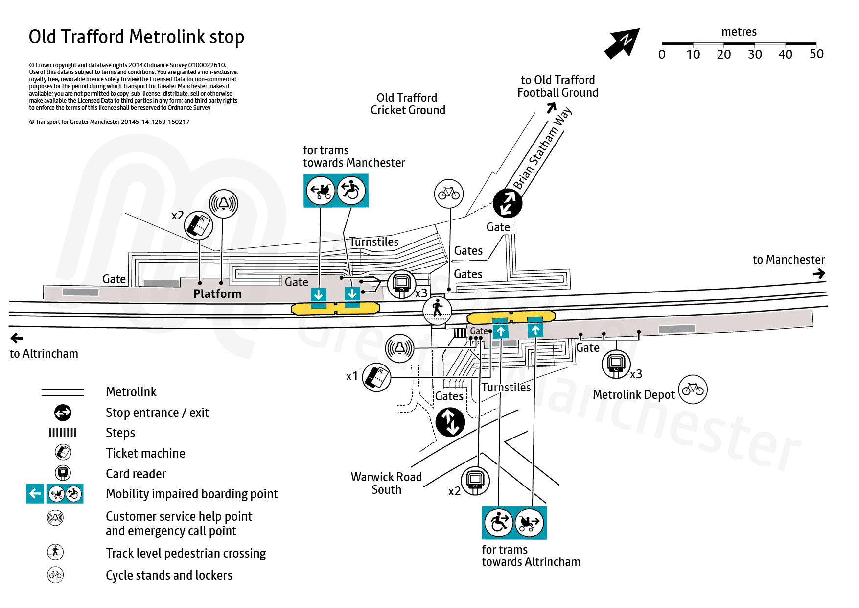 Stop map for Old Trafford tram stop