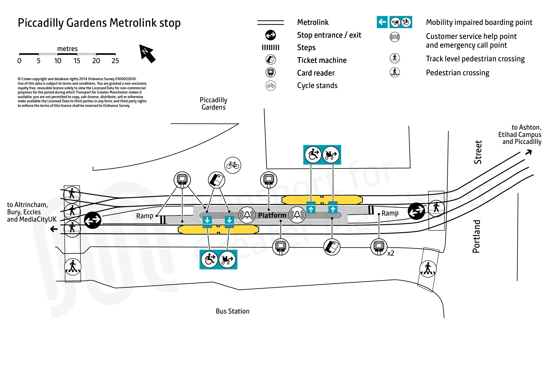 Stop map for Piccadilly Gardens tram stop