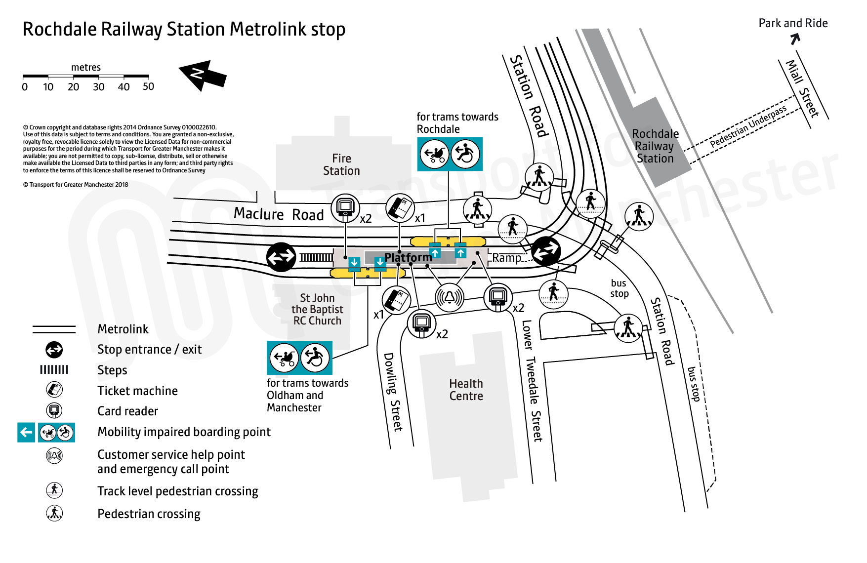 Stop map for Rochdale Railway Station tram stop