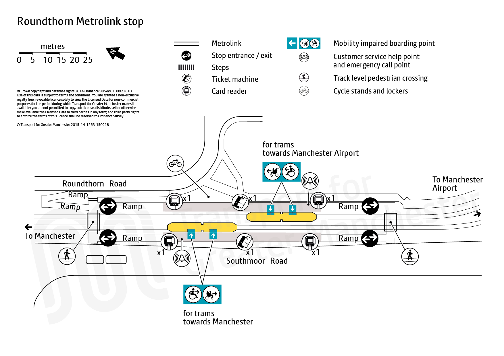Stop map for Roundthorn tram stop