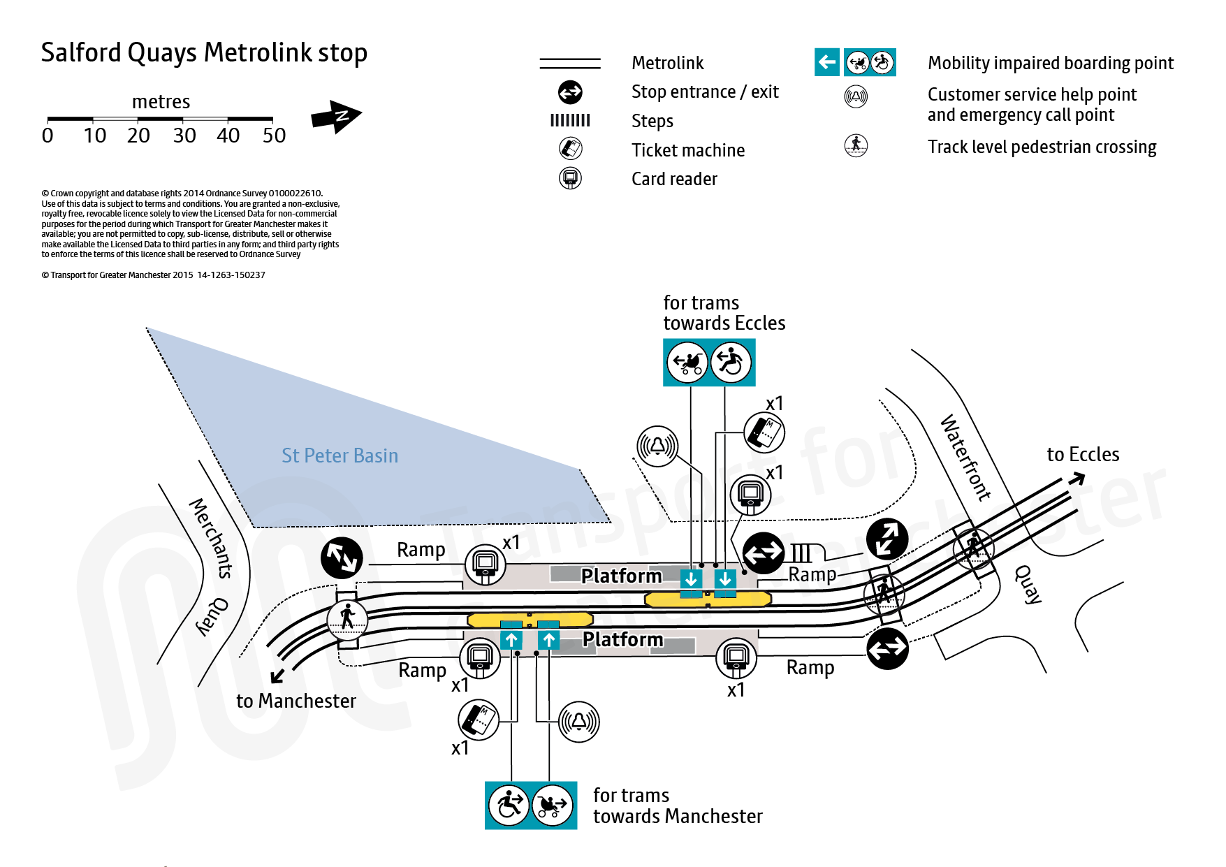 Stop map for Salford Quays tram stop