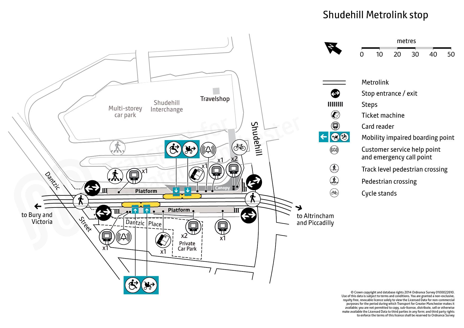 Stop map for Shudehill tram stop