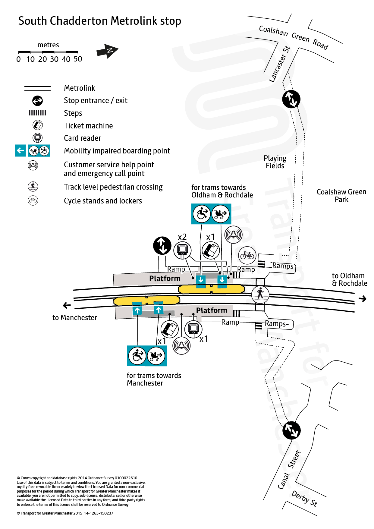 Stop map for South Chadderton tram stop