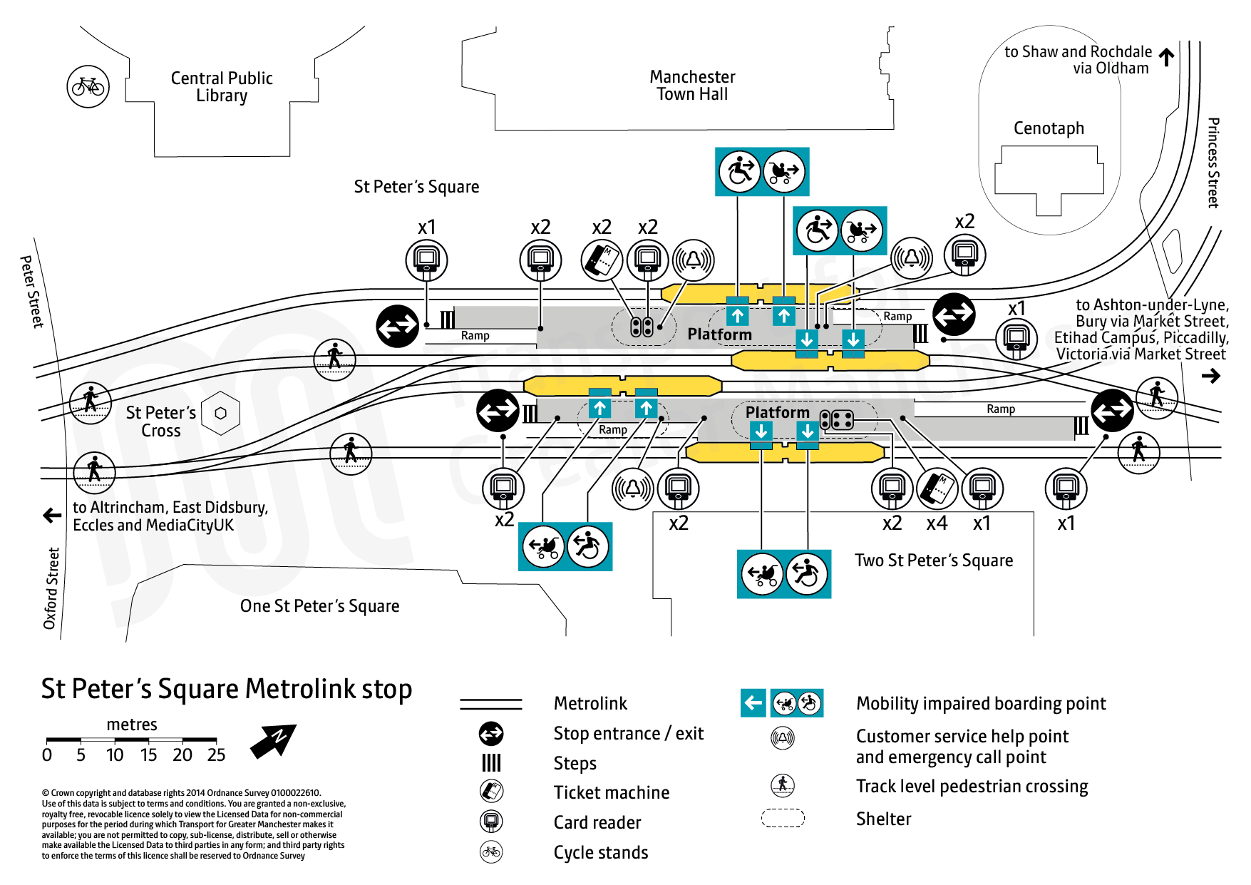 Stop map for St Peter's Square tram stop