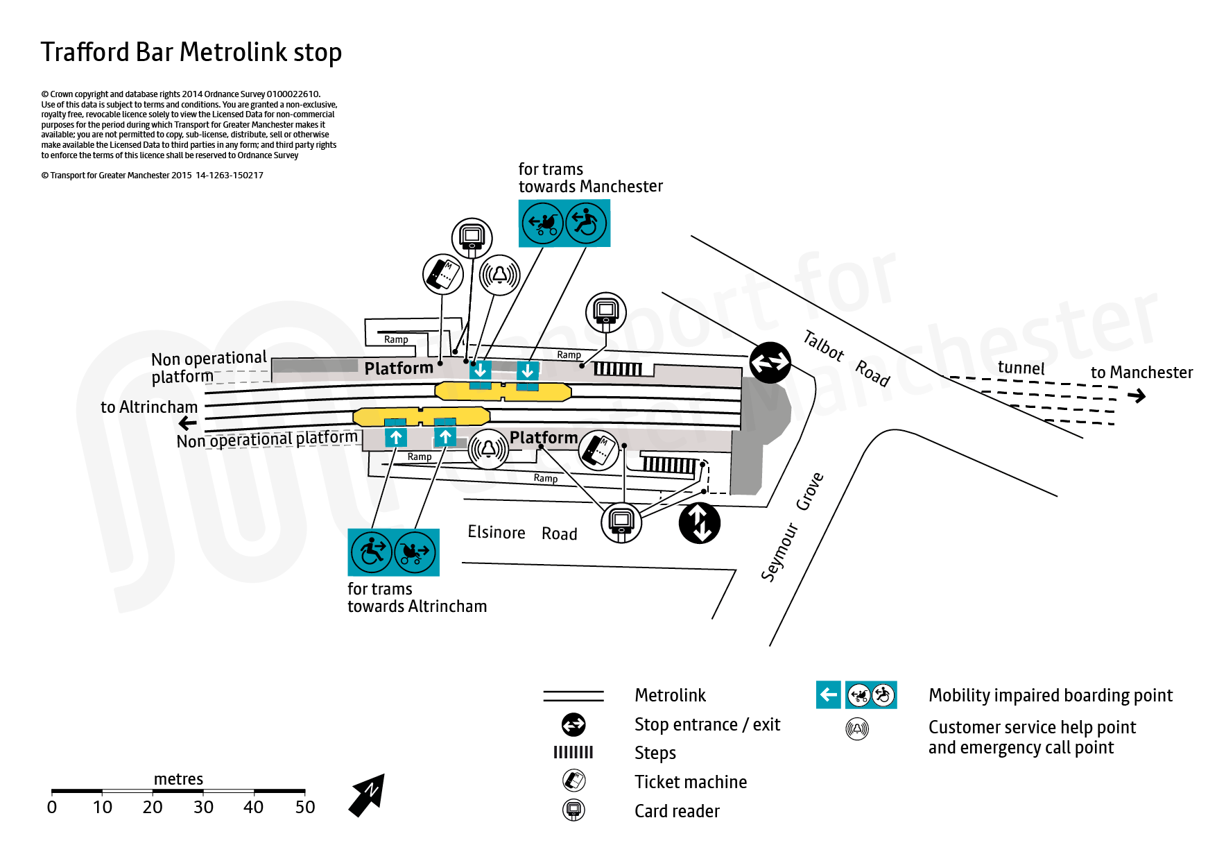 Stop map for Trafford Bar tram stop