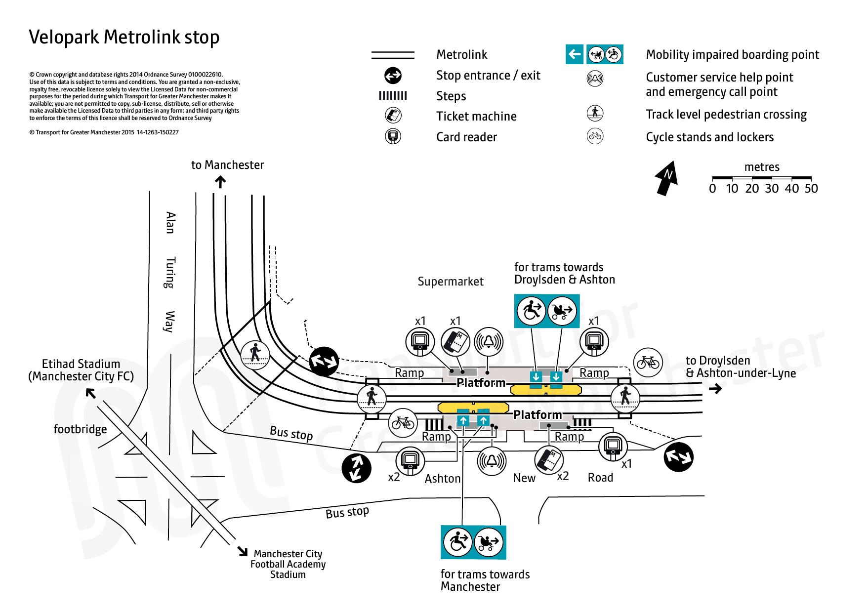 Velopark tram stop map Transport for Greater Manchester