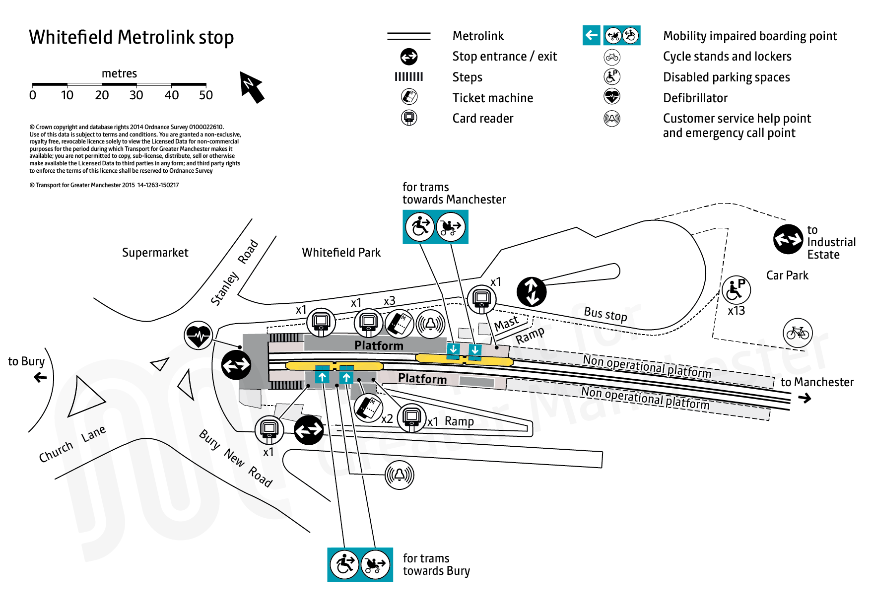 Stop map for Whitefield tram stop