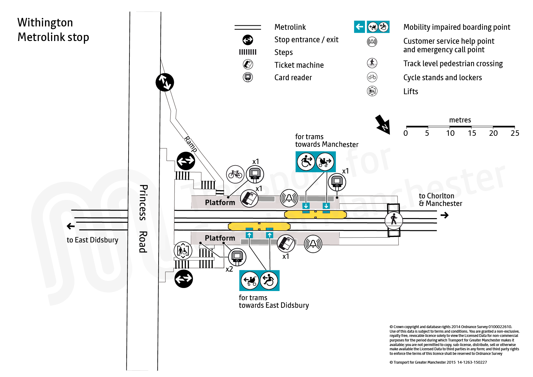 Stop map for Withington tram stop
