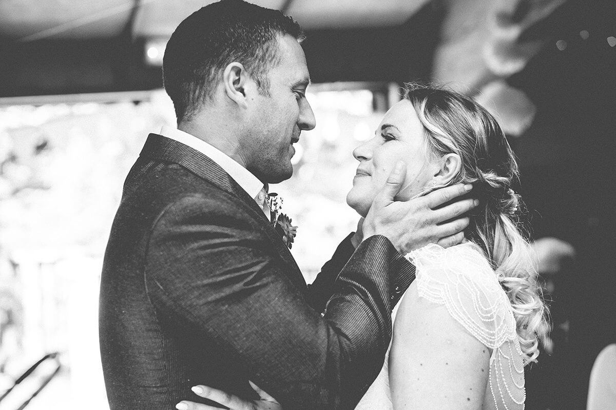 Groom and brides first kiss in Hampshire