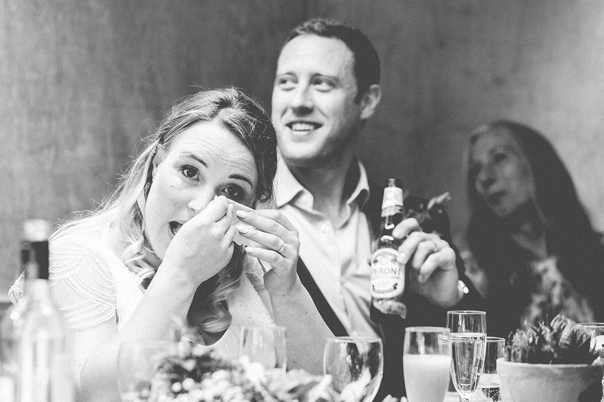 bride cries at speech in Hampshire
