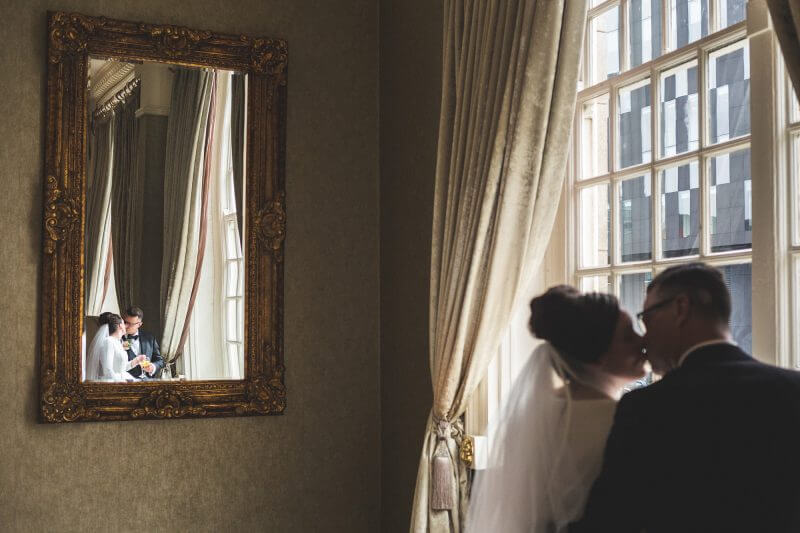 bride and groom in mirror at 30 james street