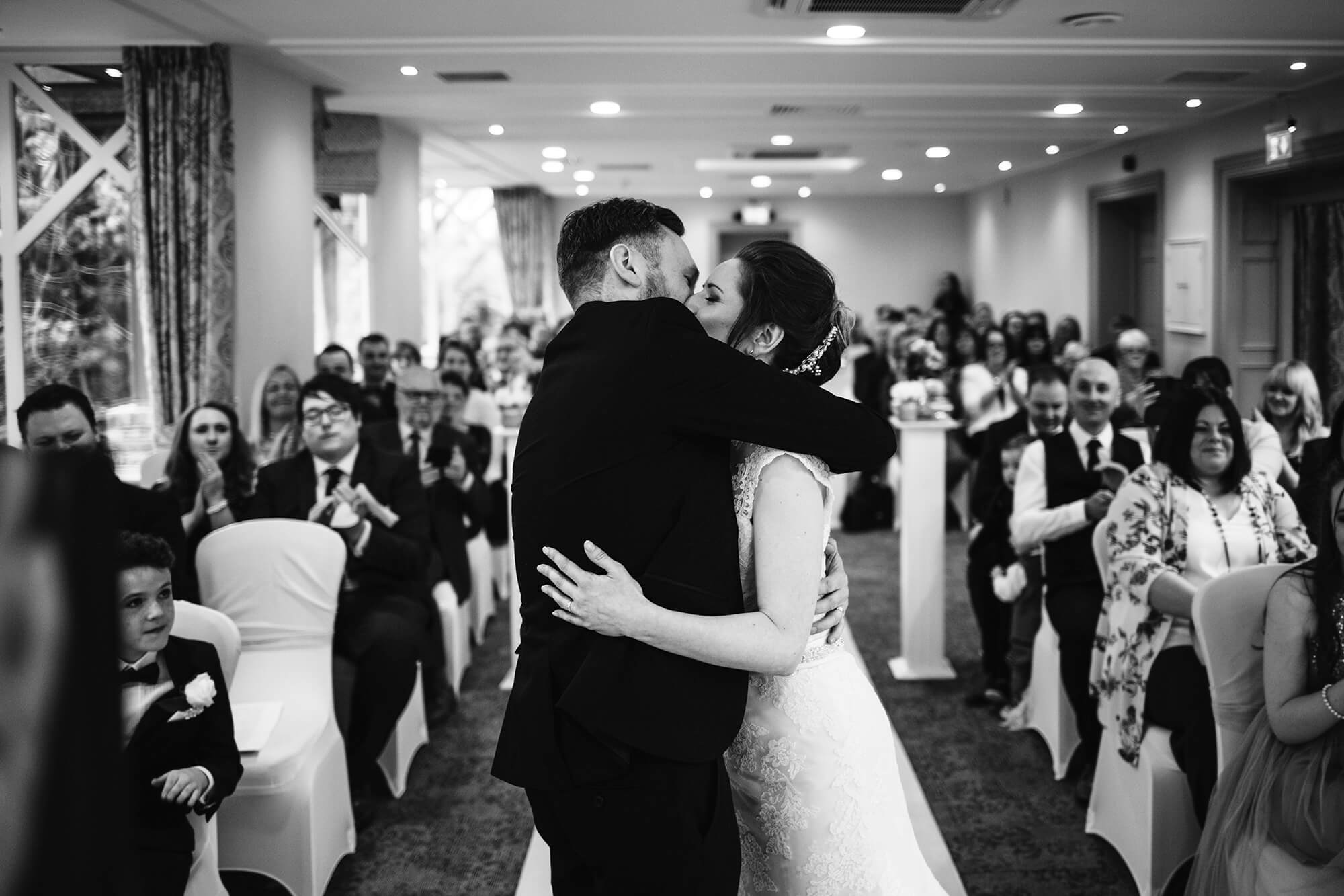 first kiss as husband and wife at crabwall manor