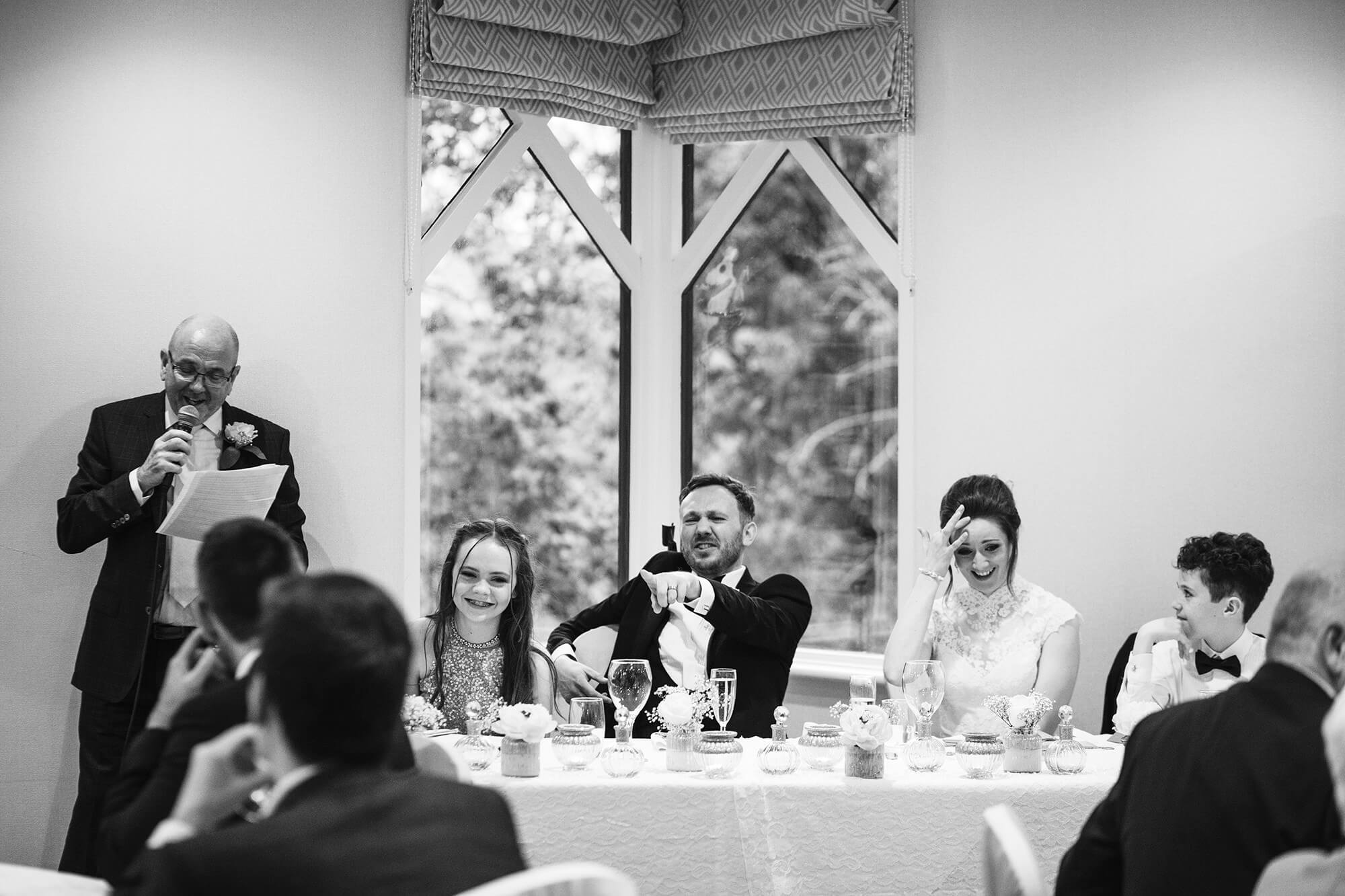 groom gets made fun of at his wedding in Cheshire