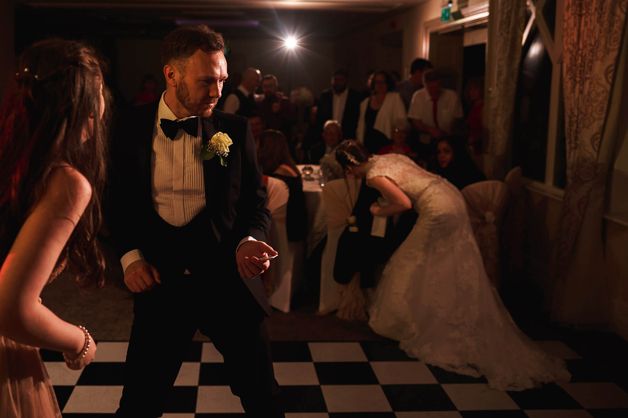 awesome dance moves at crabwall manor wedding