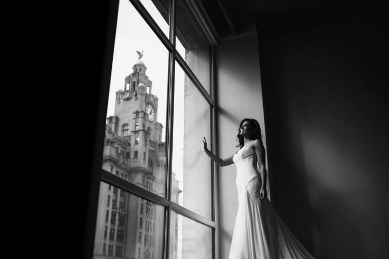 bride to be next to the liver building