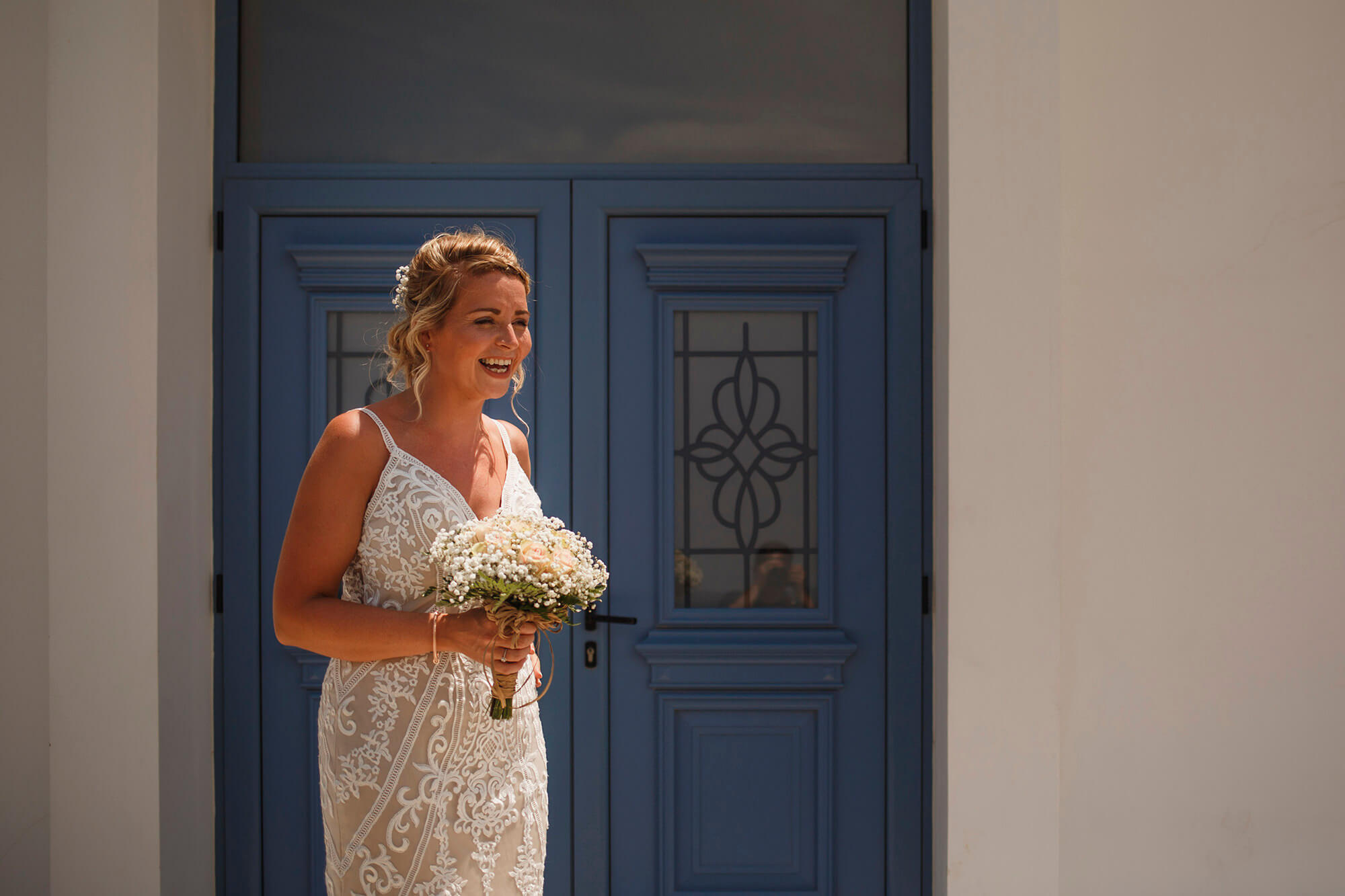 happy bride in Cyprus wedding