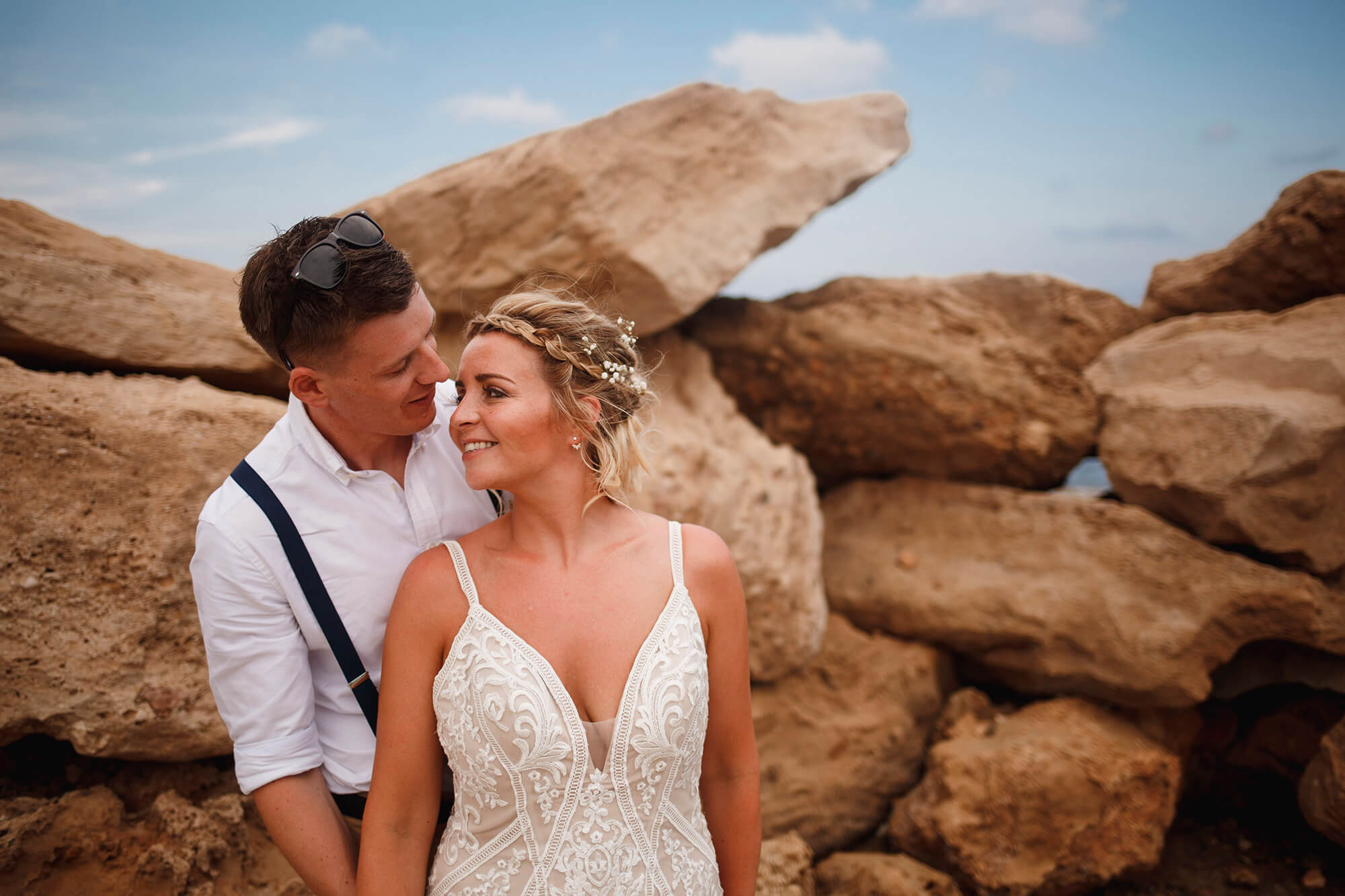 bride and groom in Cyprus beach wedding