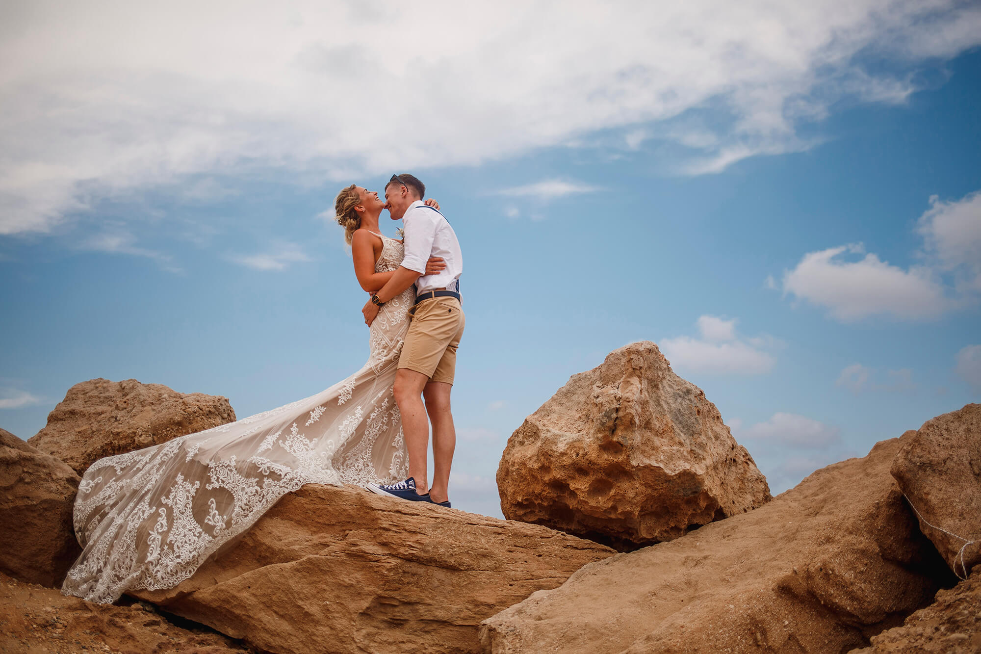 couple stood on the rocks in Cyprus