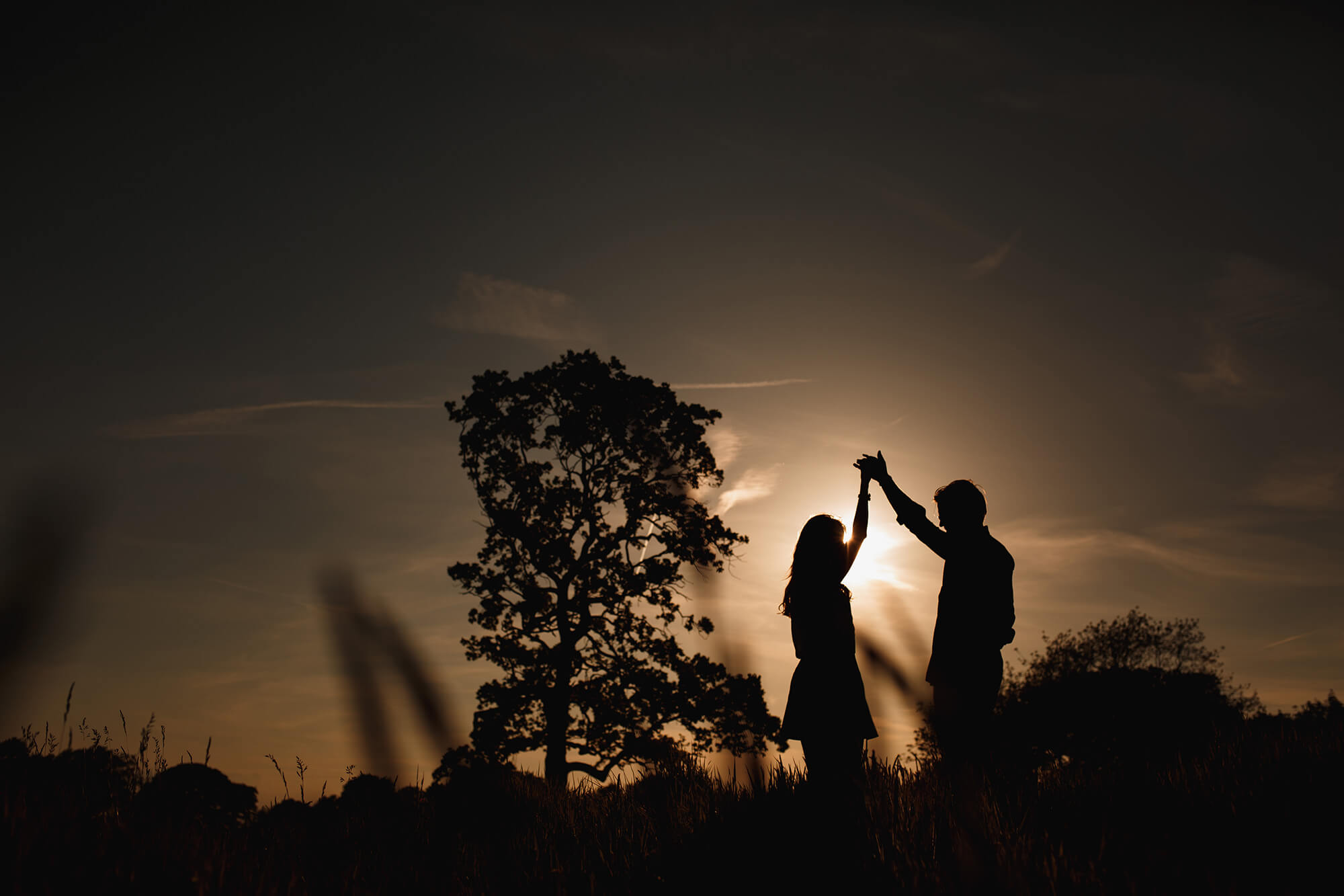 dancing couple in sunlight