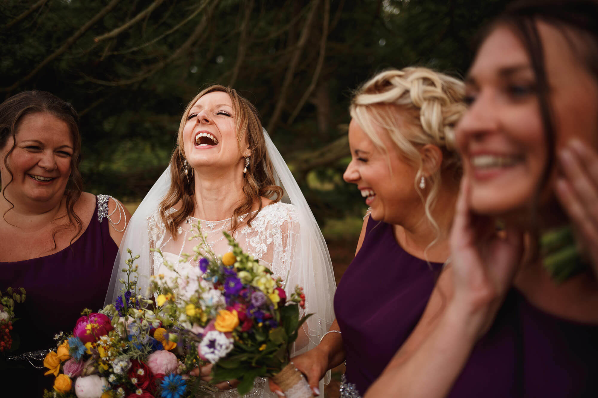 Bride with bridesmaids at barite hall