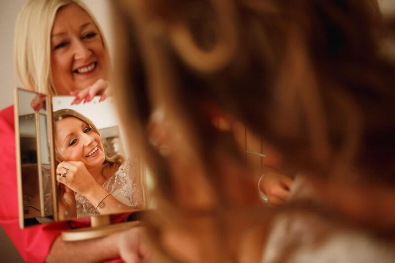 bride getting ready at battle hall