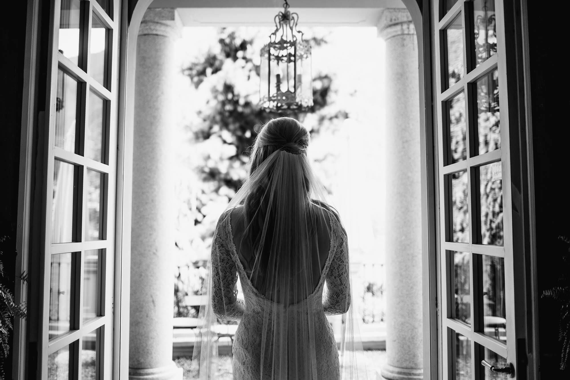 bride awaiting entrance to lake Como wedding