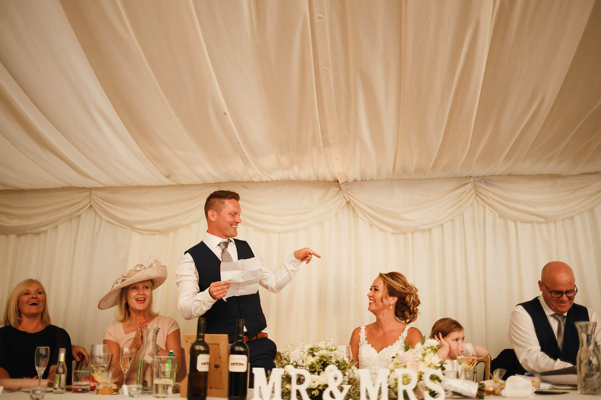 grooms speech at William Cecil wedding