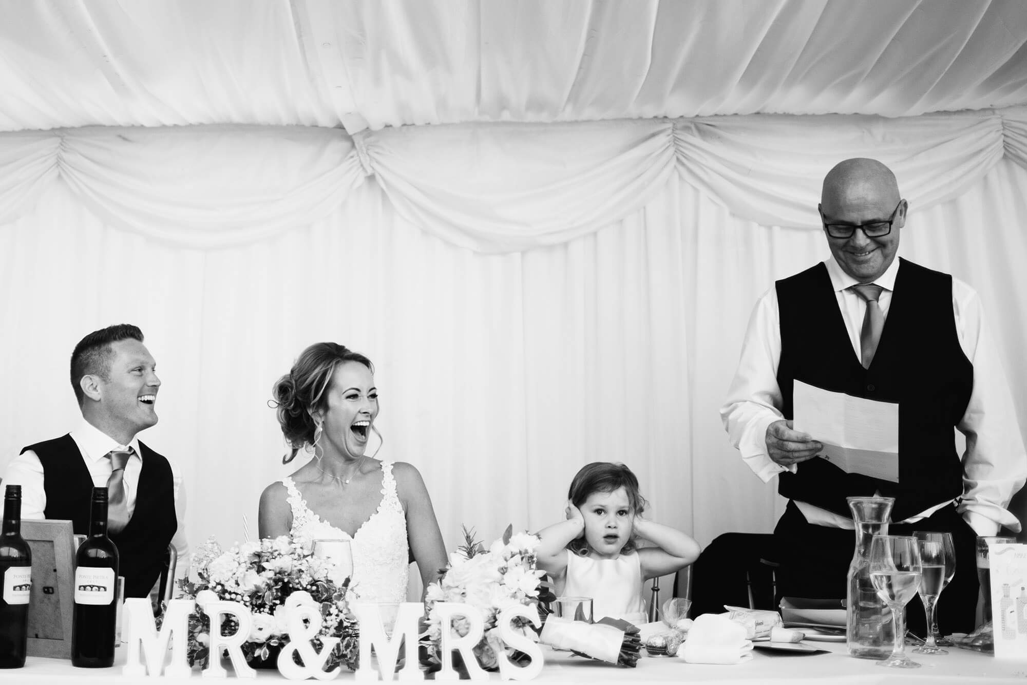 bride laughing at stamford wedding speech
