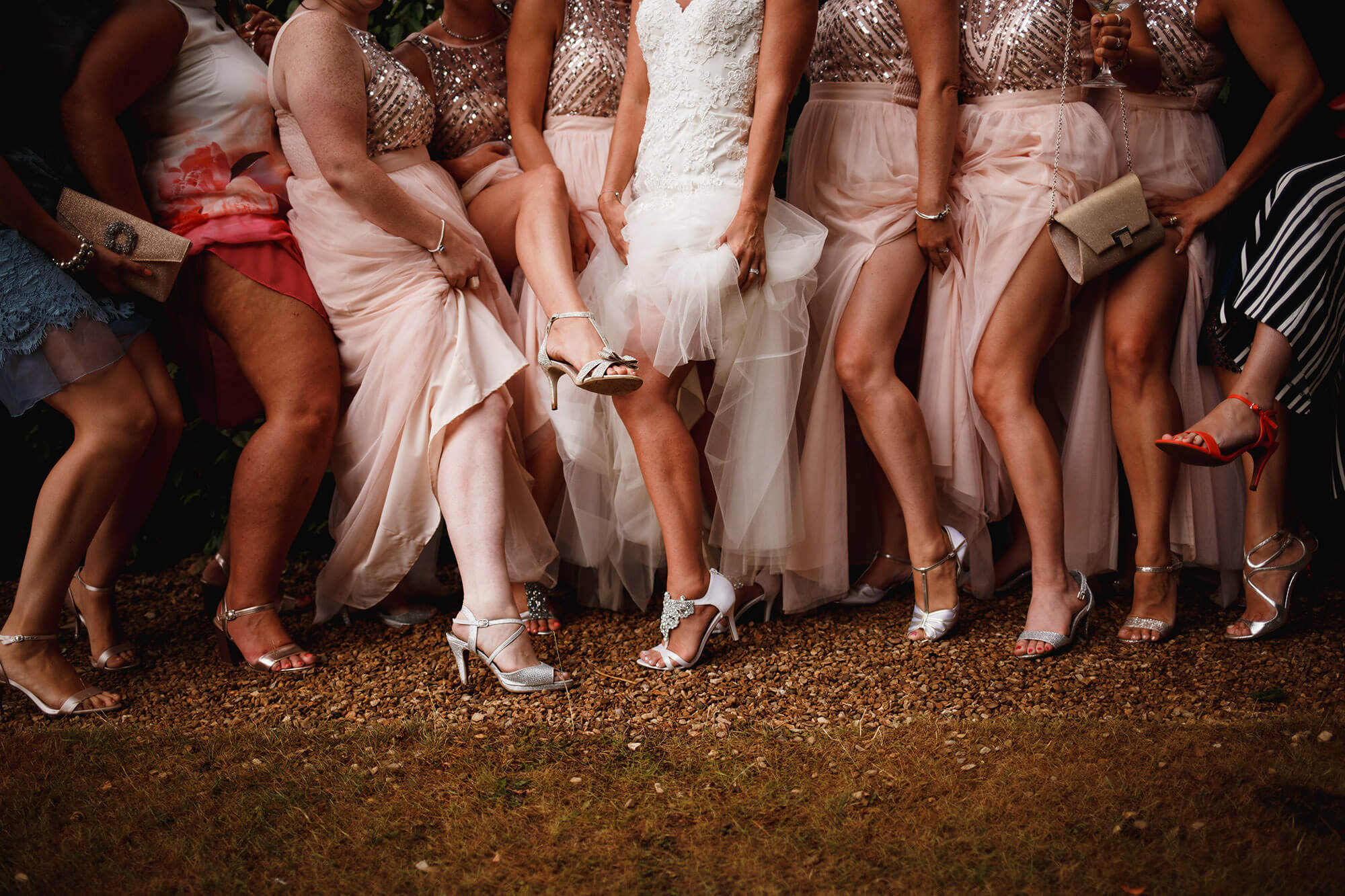 brides showing off their legs