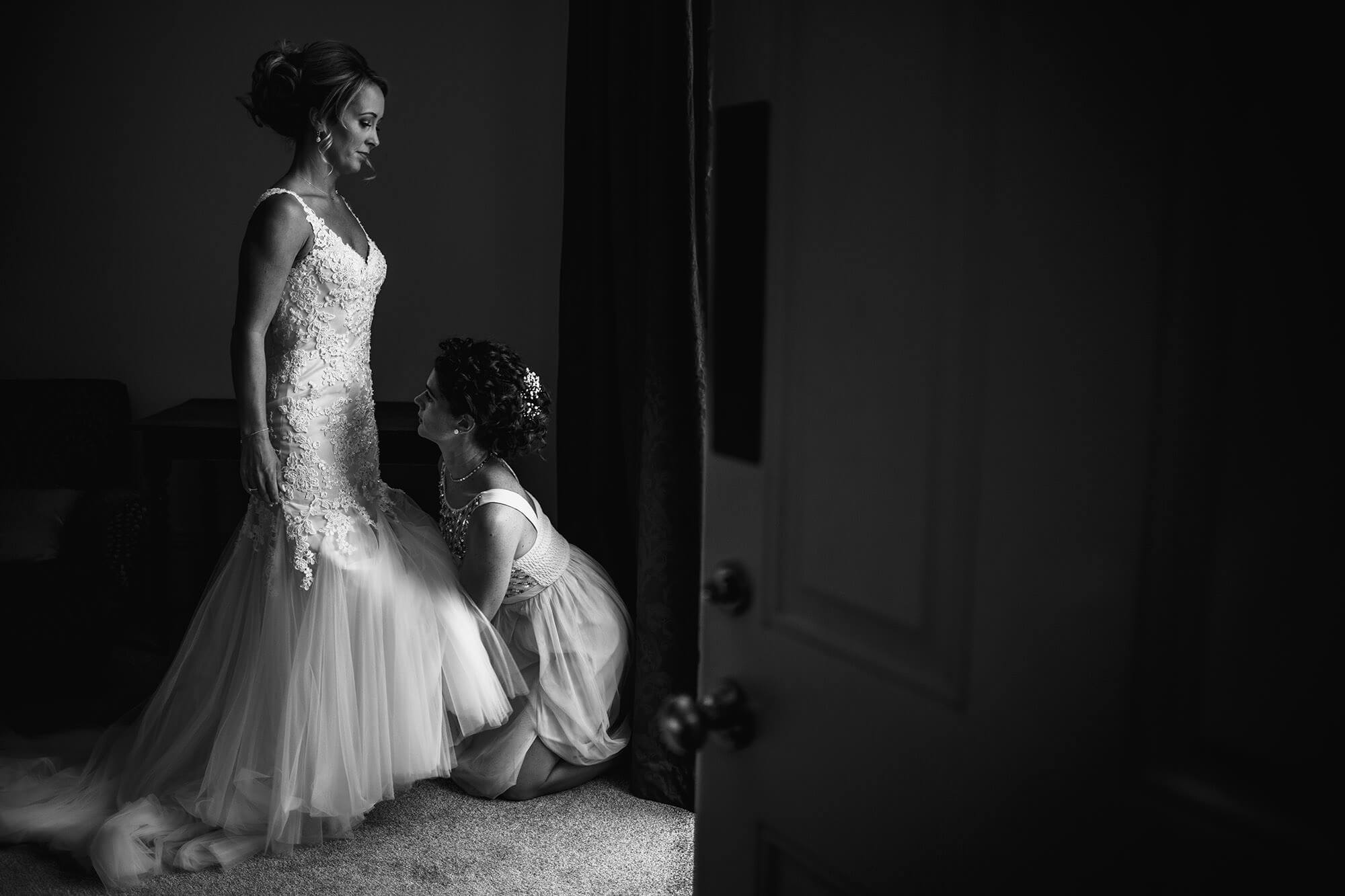 bride getting ready at stamford wedding venue