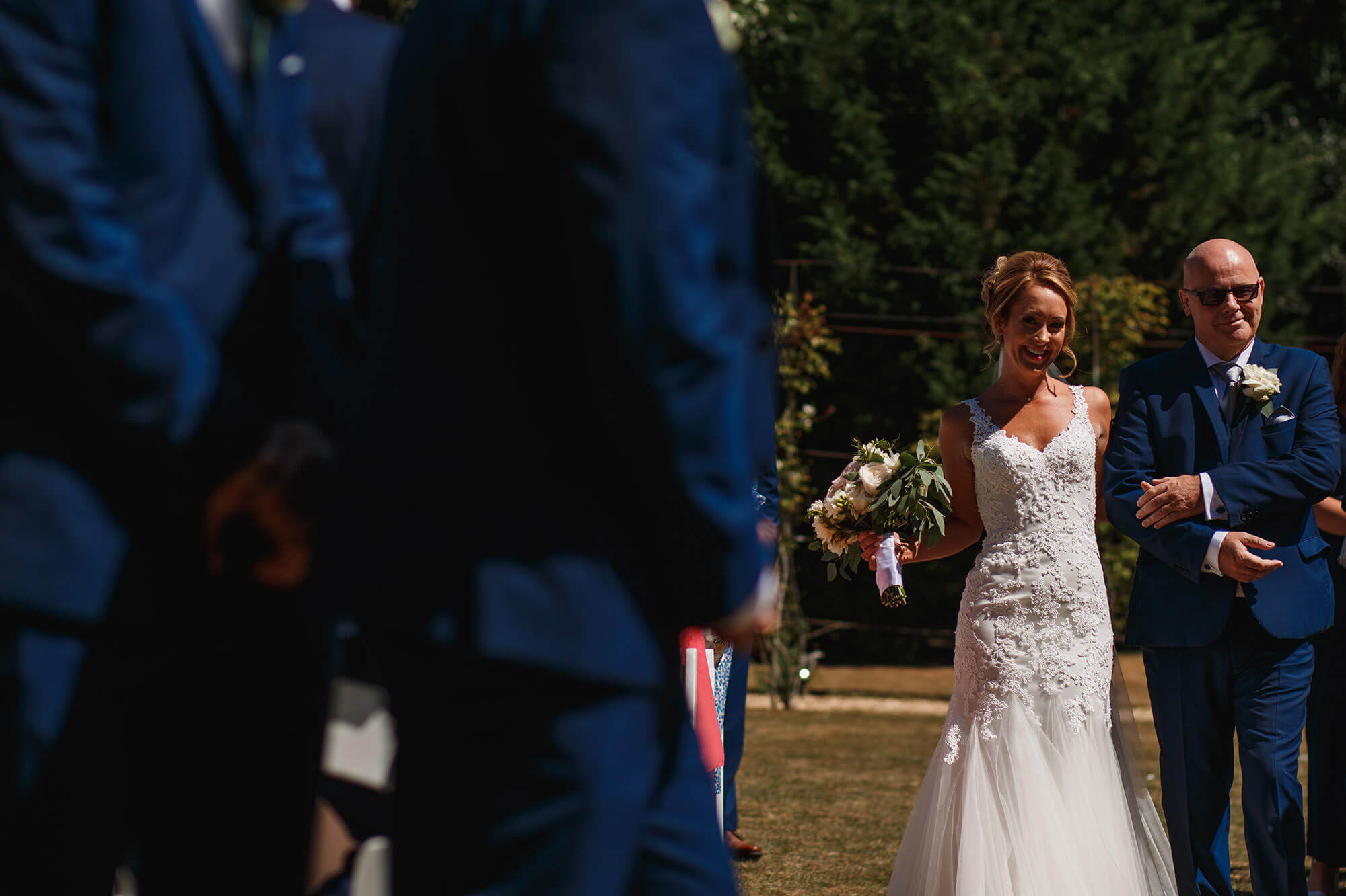 bride sees her groom at William Cecil wedding
