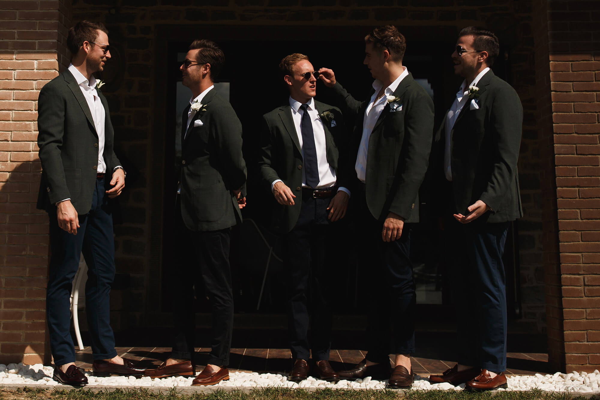 Groom with groomsmen in Tuscany