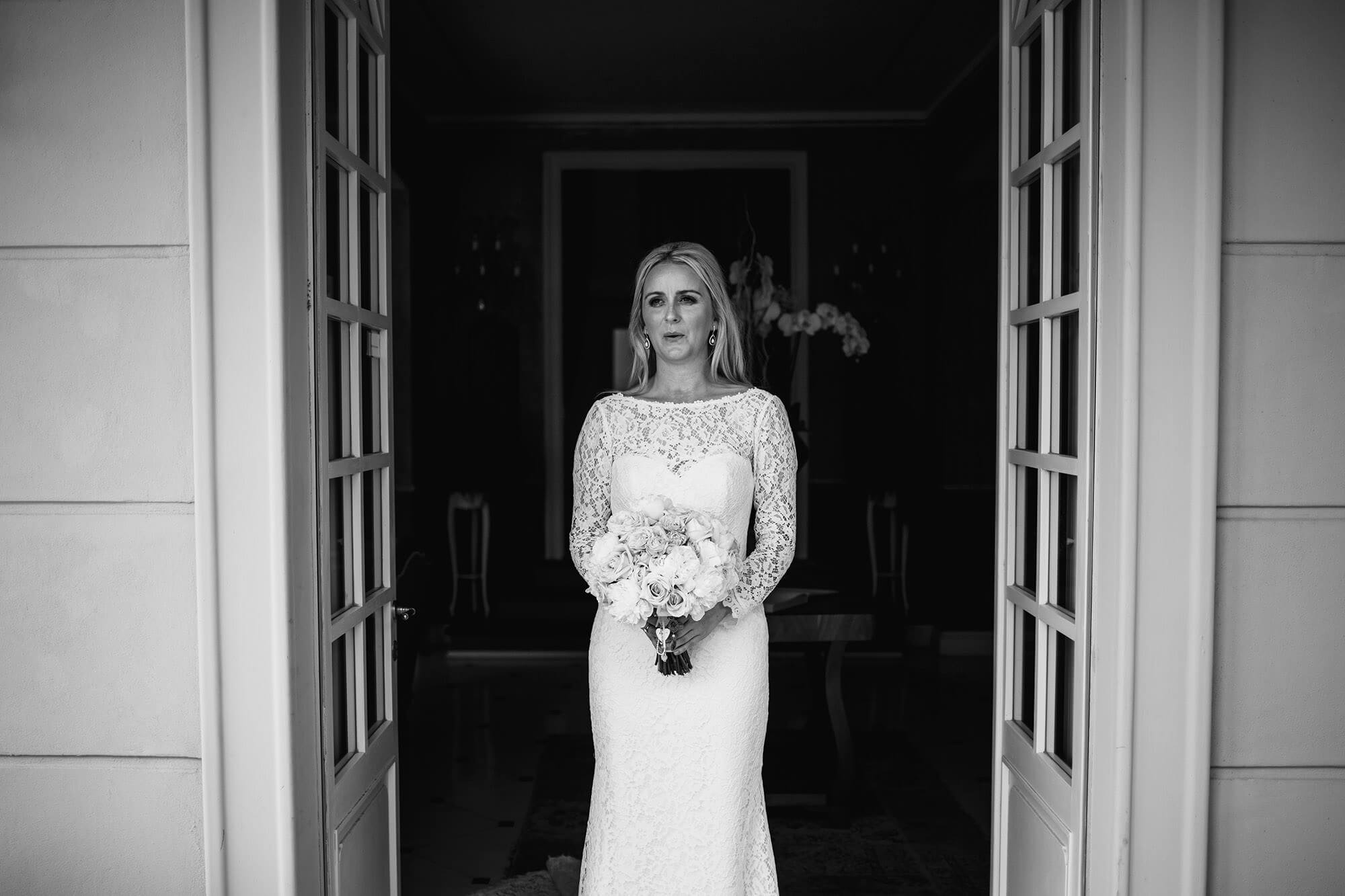 bride awaiting her Lake Como ceremony