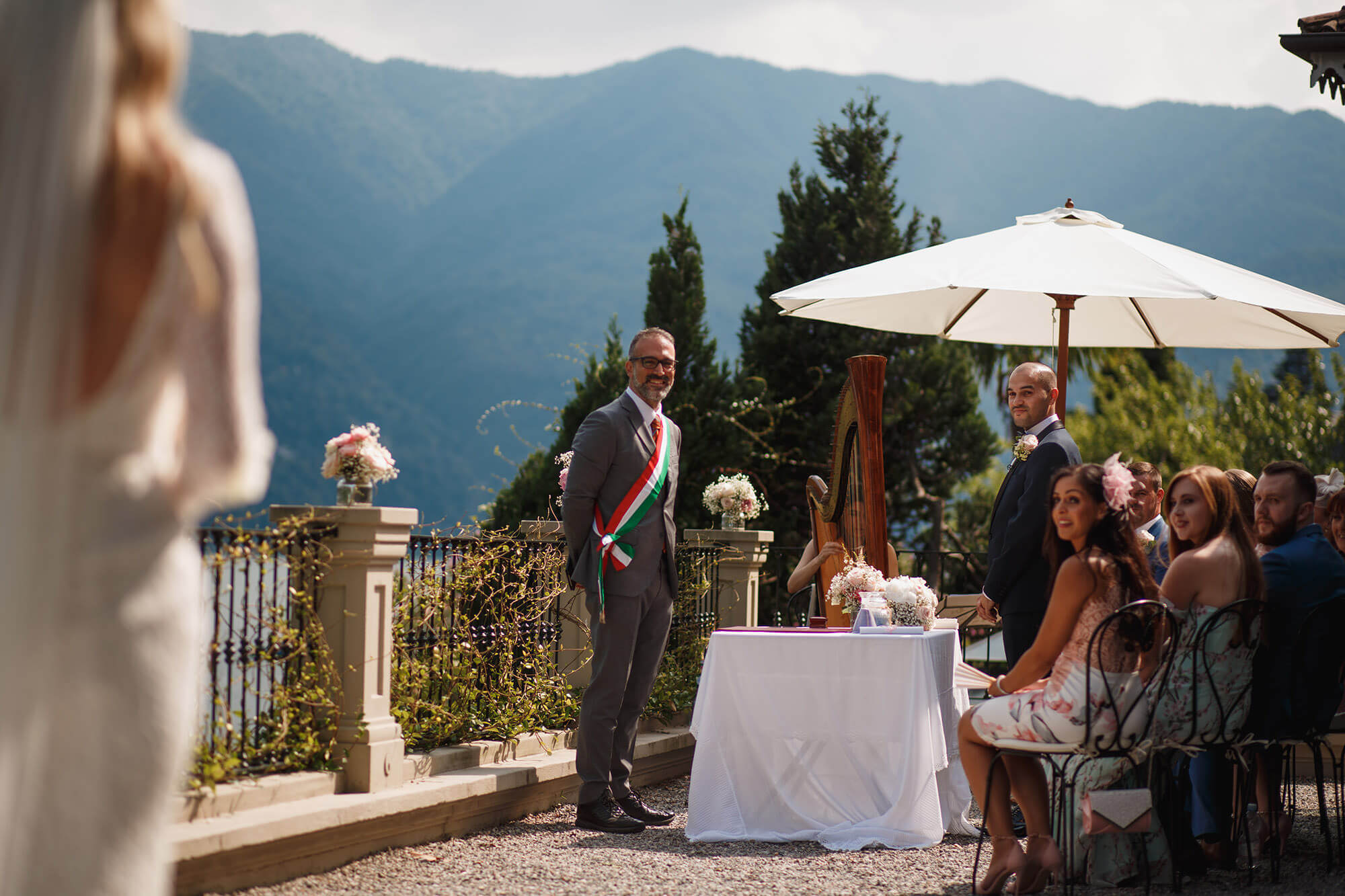 bride walking to her groom at villa wedding Lake Como