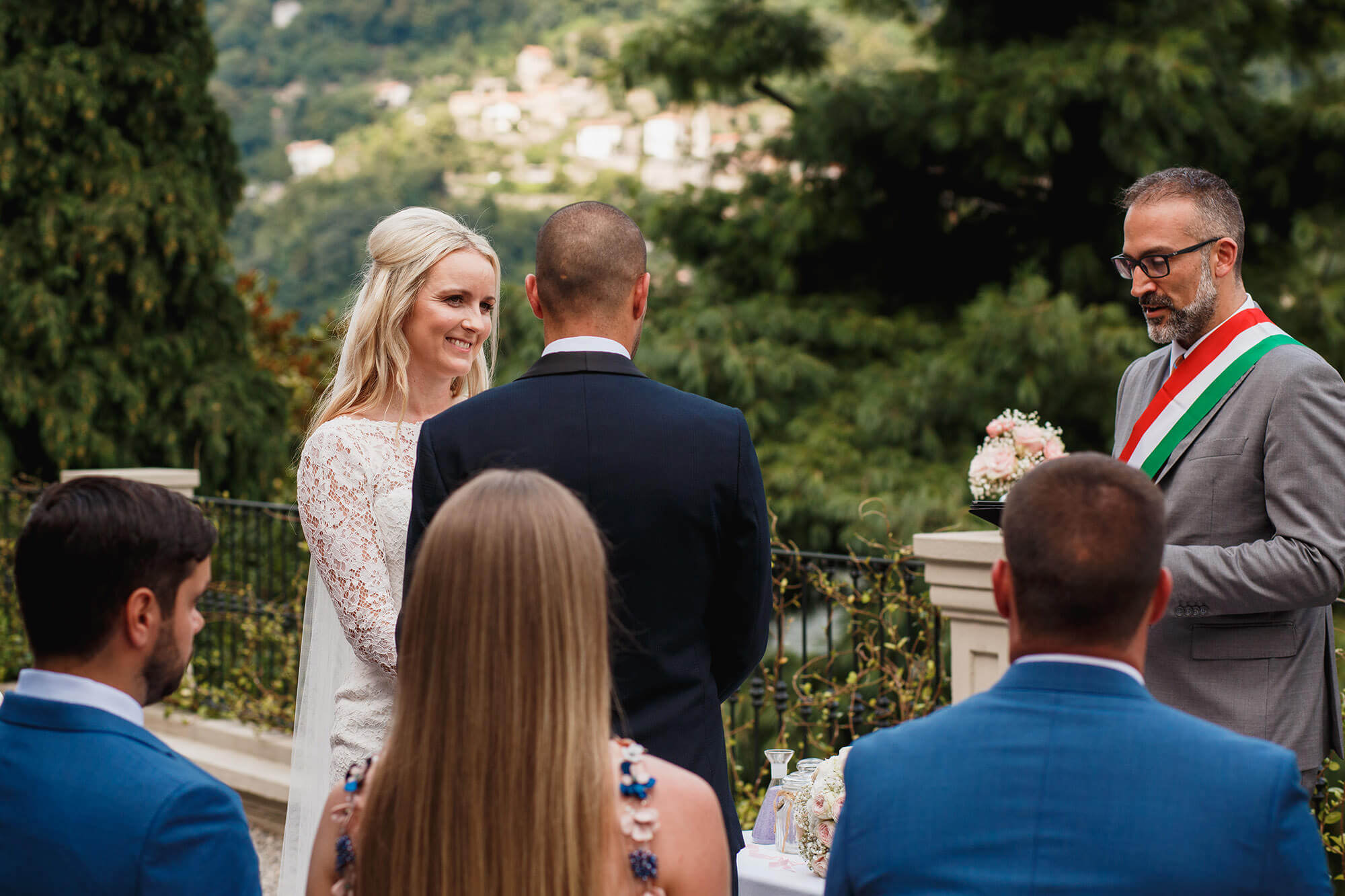 happy bride at Lake Como