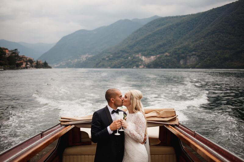 Lake Como bride and groom on boat
