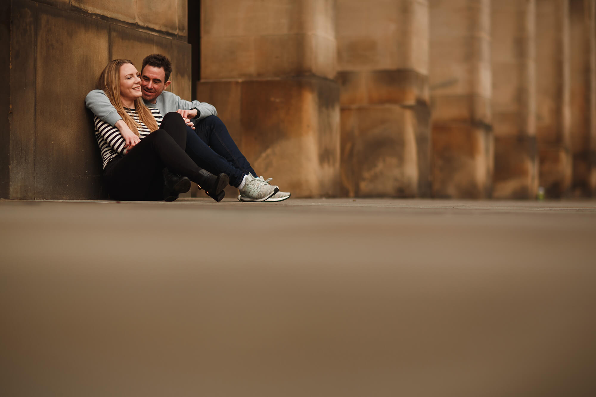 manchester photo of engaged couple