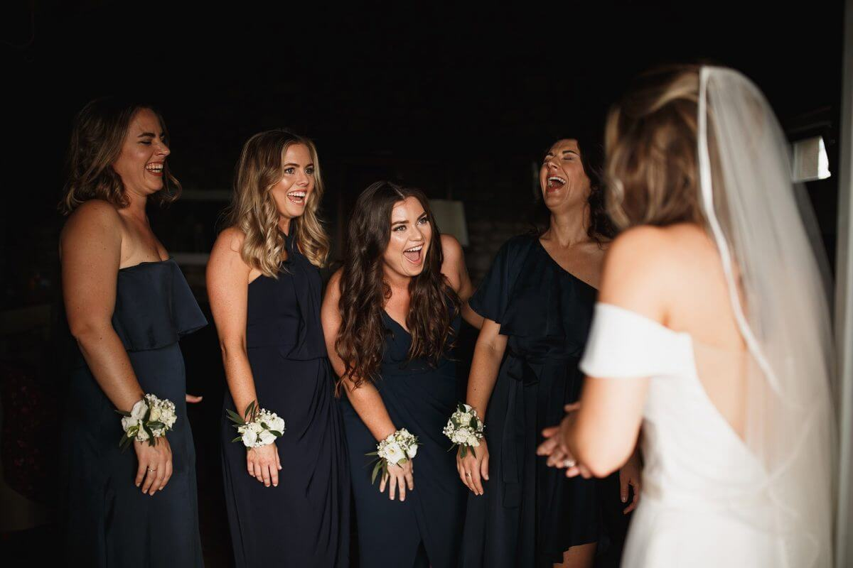 Tuscany wedding bride and bridesmaids