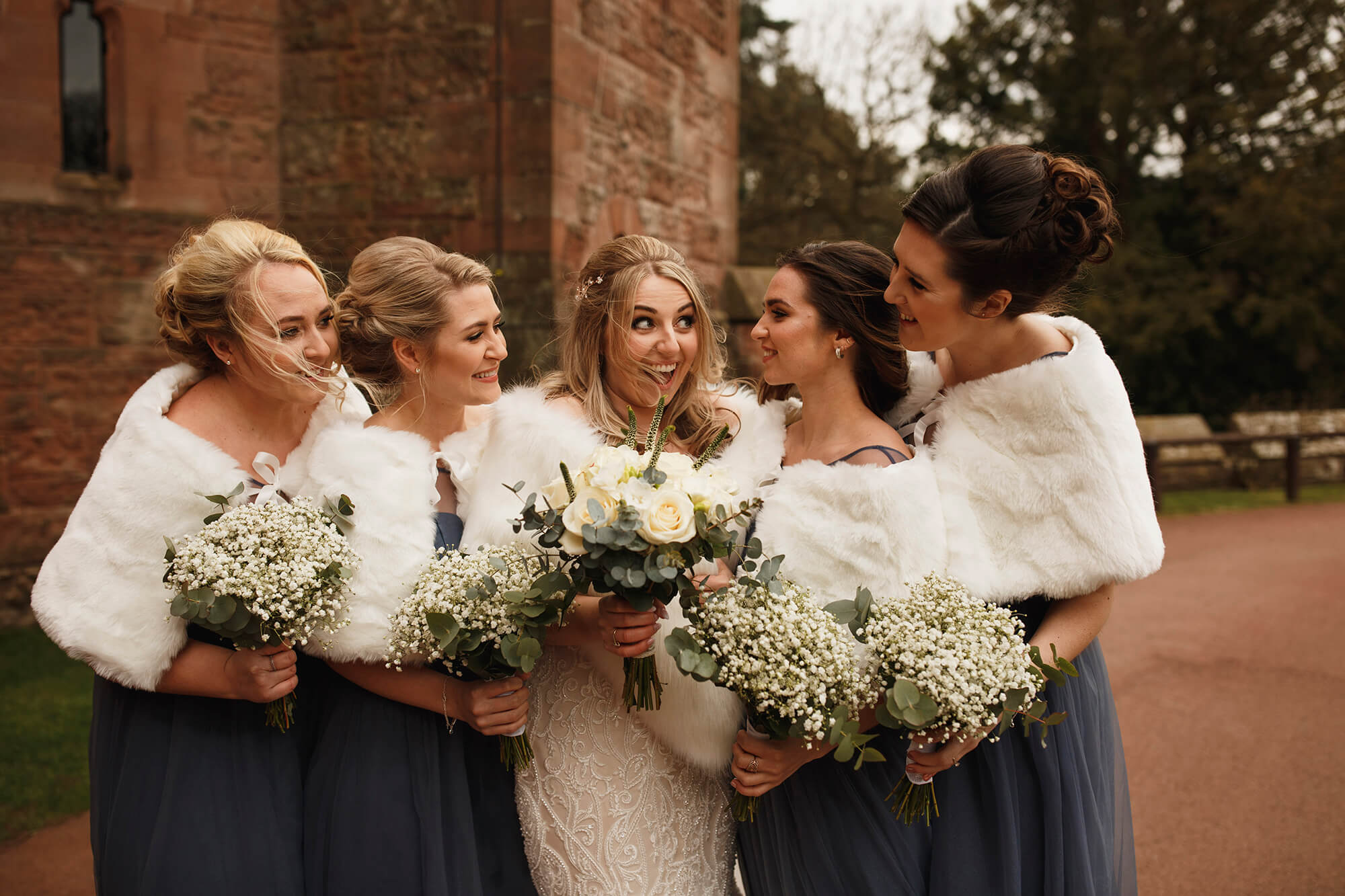 bridesmaids at Peckforton Castle